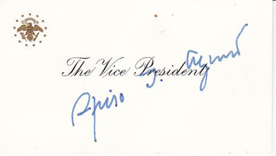 THE VICE PRESIDENTIAL CARD SIGNED BY SPIRO AGNEW., Agnew, Spiro T. (1918-1996] Governor of Maryland. Vice President of the United States under Nixon.