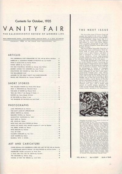 Image for Vanity Fair Magazine, October, 1935