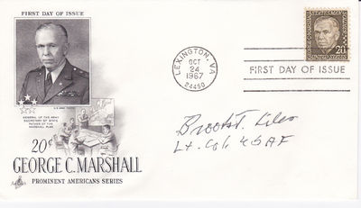 """FIRST DAY COVER SIGNED BY WORLD WAR II AND KOREAN WAR FIGHTER PILOT BROOKS J. LILES., Liles, Brooks """"Pappy"""" J. (1923-2008). World War II and Korean War fighter pilot."""