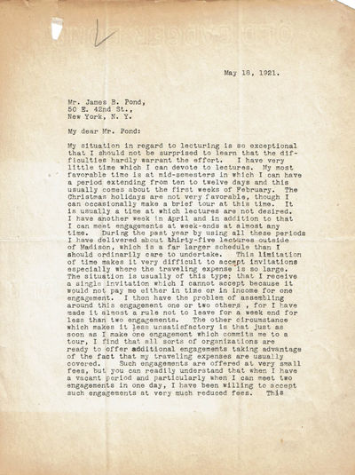 TYPED LETTER SIGNED BY AMERICAN EXPERIMENTAL PSYCHOLOGIST JOSEPH JASTROW., Jastrow, Joseph. (1863-1944). Polish-born American psychologist noted for inventions in experimental psychology, design of experiments and psychophysics.
