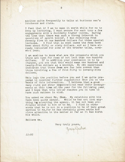 Image for TYPED LETTER SIGNED BY AMERICAN EXPERIMENTAL PSYCHOLOGIST JOSEPH JASTROW.