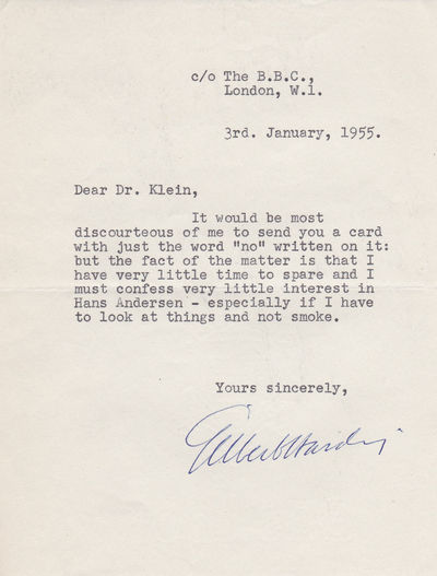 A TYPICALLY ACERBIC TYPED LETTER SIGNED BY GILBERT HARDING., Harding, Gilbert.