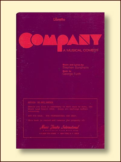 Company, a Musical Comedy    Libretto, George Furth & Stephen Sondheim