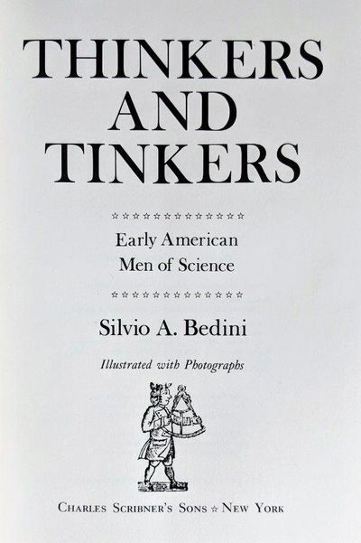Image for Thinkers and Tinkers; Early American Men of Science.