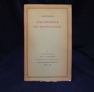 Image for Sprichworter Des Mittelalters (3 Volume Set)