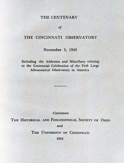 Image for The Centenary of the Cincinnati Observatory November 5, 1943.