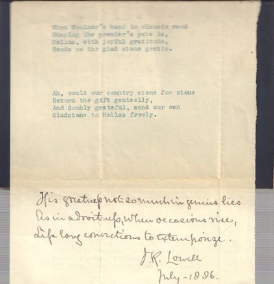 Image for Mr. Gladstone. A Study [with manuscript Lowell poem]
