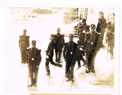 A NEWS PHOTOGRAPH OF ALFRED DREYFUS BEING LED TO BE PUBLICALLY DEGRADED. DREYFUS WAS THE MAJOR FIGURE IN ONE OF THE MOST SENSATIONAL AND CONTROVERSIAL SPY CASES AND THE VICTIM OF A GREAT MISCARRIAGE OF JUSTICE, Dreyfus, Alfred