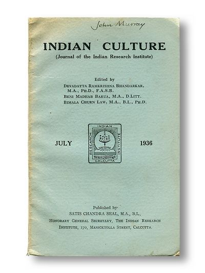 Indian Culture Journal of the Indian Research Institute July 1936