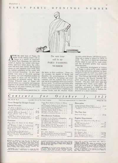 Image for Vogue Magazine, October 1, 1921