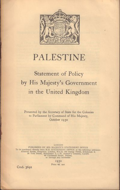 Image for Palestine; Statement of Policy by His Majesty's Government in the United  Kingdom; Cmd. 3692