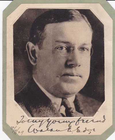 EDGE, WALTER E. (1873-1956). GOVERNOR OF NEW JERSEY, U.S. SENATOR AND U.S. AMBASSADOR TO FRANCE. - Magazine Portrait Inscribed and Signed by Governor of New Jersey, U.S. Senator and U.S. Ambassador to France Walter E. Edge.