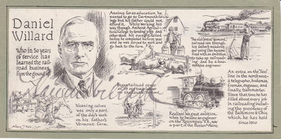 ILLUSTRATED BIOGRAPHY MOUNTED ON A CARD SIGNED BY PRESIDENT OF THE B&O RAILROAD DANIEL WILLARD., Willard, Daniel. (1861-1942). President of the Baltimore and Ohio (B&O) Railroad from 1910-1941.