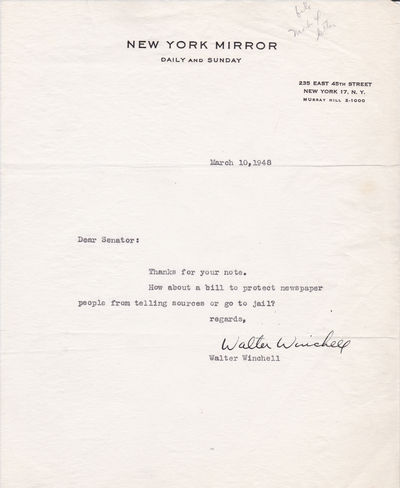 TYPED NOTE REQUESTING PASSAGE OF A SHIELD LAW SIGNED BY POWERFUL AND CONTROVERSIAL NEWSMAN WALTER WINCHELL., Winchell, Walter. (1897-1972). Powerful and controversial newsman and radio gossip broadcaster.