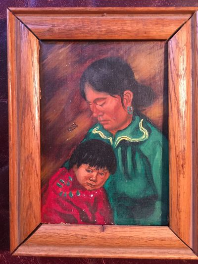 Original Mohawk Artist Albert White Oil Painting 5 x 7 Navajo Mother and Child Signed, Albert White