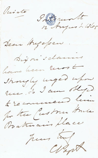AUTOGRAPH LETTER SIGNED by British Admiral LORD CLARENCE PAGET on ADMIRALTY LETTERHEAD., Paget, Lord Clarence. (1811-1895). British Admiral.