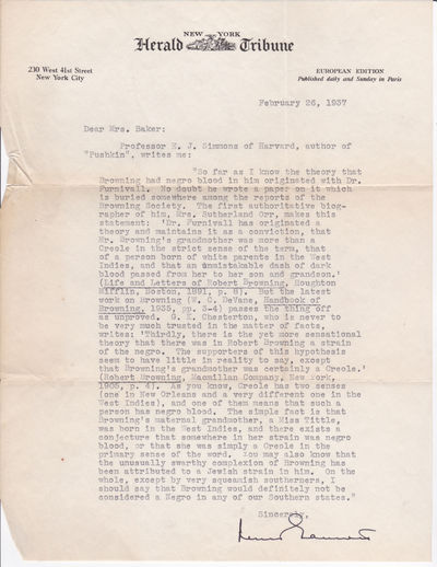 TYPED LETTER ABOUT ROBERT BROWNING'S RACE SIGNED BY BOOK REVIEW COLUMNIST LEWIS GANNETT., Gannett, Lewis. (1891-1966). Journalist and editor who wrote a daily book review column published in the New York Herald Tribune from 1928 to 1956.