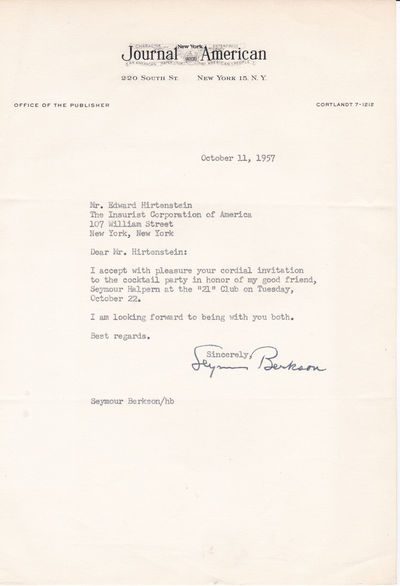 TYPED LETTER SIGNED BY THE PUBLISHER OF THE NEW YORK JOURNAL-AMERICAN SEYMOUR BERKSON., Berkson, Seymour. (1905-1959). Publisher of the New York Journal-American.