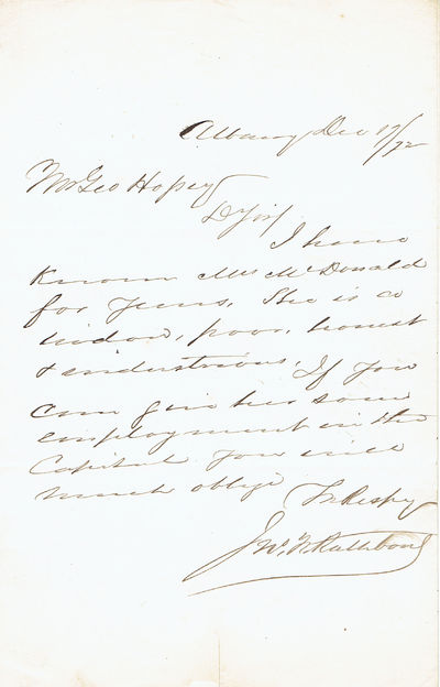 AUTOGRAPH LETTER SIGNED BY GENERAL JOHN FINLEY RATHBONE, Rathbone, General John Finley. (1819-1901). Commissioned a brigadier general in 1860, commanding the Ninth Brigade, New York State Militia