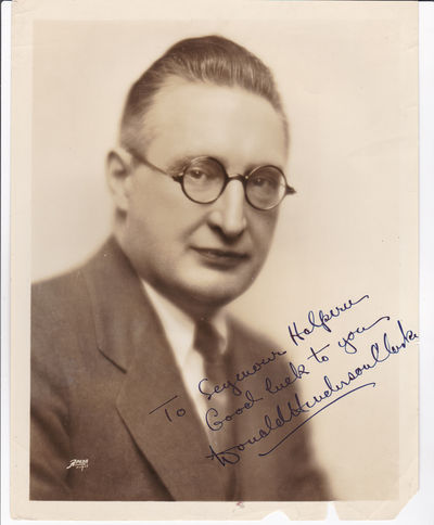 ORIGINAL PHOTOGRAPH INSCRIBED AND SIGNED BY AMERICAN SCREENWRITER AND NOVELIST DONALD HENDERSON CLARKE., Clarke, Donald Henderson. (1887-1958). American author and journalist known for his screenplays, romantic novels and mysteries.