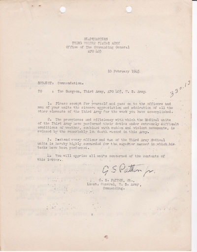 ORIGINAL MIMEOGRAPH COPY of a TYPED LETTER OF COMMENDATION distributed by GENERAL GEORGE S. PATTON in recognition of the army's medical corps., (Patton, General George S. [1885-1945]).
