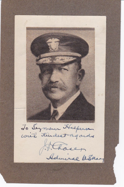 MAGAZINE PORTRAIT INSCRIBED AND SIGNED BY U.S. NAVAL OFFICER REAR ADMIRAL JEHU V. CHASE., Chase, Rear Admiral Jehu V. (1869-1937). Career naval officer best remembered for his leadership of the USS Minnesota during World War I.