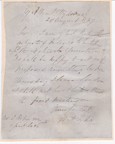 AUTOGRAPH LETTER SIGNED BY ORNITHOLOGIST, STATISTICIAN AND INDOLOGIST WILLIAM HENRY SYKES WHO SERVED WITH THE BRITISH MILITARY IN INDIA., Sykes, William Henry. (1790-1872). English naturalist who served with the British military in India. He was known for his work with the army as a politician, Indologist and orthinologist.
