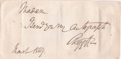 AUTOGRAPH NOTE SIGNED BY SCOTTISH LIBERAL POLITICIAN AND AUTHOR GEORGE CAMPBELL, 8TH DUKE OF ARGYLL., Campbell, George, 8th Duke of Argyll. (1823-1900). Scottish Liberal politician and writer on science, religion and 19th-century politics.