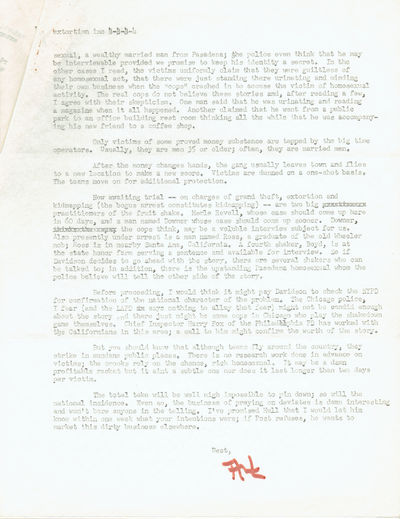 A 4-PAGE TYPED MANUSCRIPT PROPOSAL SIGNED BY ART SEIDENBAUM, FOR AN ARTICLE ON THE EXTORTION OF GAYS BY CRIMINALS & BY THE POLICE, Seidenbaum, Art (d.1990) Los Angeles columnist and editor