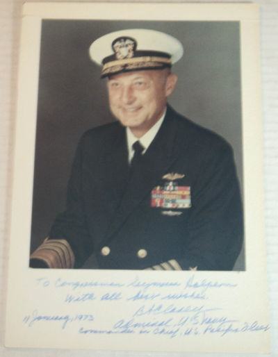COLOR PORTRAIT SIGNED AND INSCRIBED BY ADMIRAL BERNARD A. CLAREY, COMMANDER IN CHIEF, U.S. PACIFIC FLEET., Clarey, Bernard A. (1912-1996). An admiral of the U.S. Navy who served as Vice Chief of Naval Operations and as Commander in Chief, U.S. Pacific Fleet.