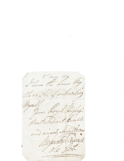 AUTOGRAPH NOTE SIGNED by Sir Augustus d'Este, the earliest recorded person for whom a definite diagnosis of multiple sclerosis can be made, d'Este, Sir Augustus Frederick (1794-1848)