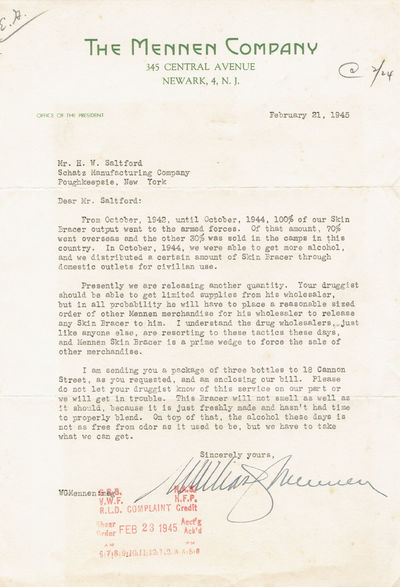 TYPED LETTER SIGNED BY WILLIAM MENNEN, BYPASSING A LOCAL DRUGGIST TO SEND THE RECIPIENT BOTTLES OF MENNEN SKIN BRACER, Mennen, William. President of The Mennen Company