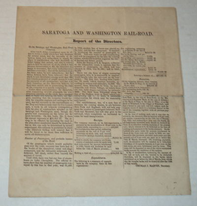 SARATOGA AND WASHINGTON RAILROAD. Report of the Directors. To the Saratoga and Washington Rail Road Company, Davison, G.M