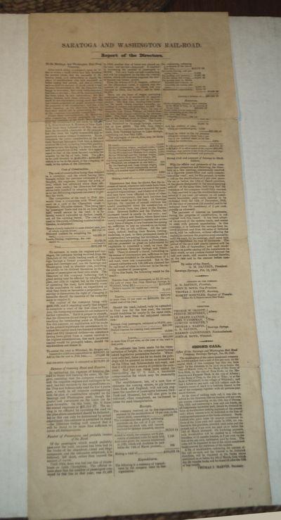 SARATOGA AND WASHINGTON RAILROAD. Report of the Directors. To the Saratoga and Washington Rail Road Company, Davison, G.M