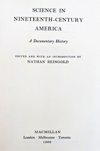 Image for Science in Nineteenth-Century America; a Documentary History.