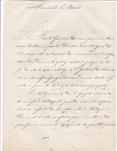 AUTOGRAPH LETTER SIGNED by COUNT LUIGI PALFFY as Governor of the Venetian Provinces under Austrian rule, regarding permission for the French-born American writer (later Civil War officer) Baron Regis de Trobriand to examine historical archives in Venice., Palffy (Palffi), Count Luigi. Governor of the Venetian Provinces.