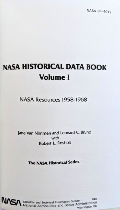 Image for NASA Historical Data Book. Volume 1. NASA Resources 1958-1968; [Volume II: Programs and Projects 1958-1968; Volume III: Programs and Projects 1969-1978.