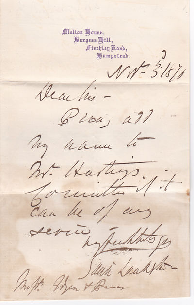 AUTOGRAPH LETTER SIGNED BY EDWIN LANKESTER, ENGLISH SURGEON WHO CONTRIBUTED TO THE CONTROL OF CHOLERA. Together with: AUTOGRAPH NOTE SIGNED BY NONCONFORMIST PREACHER AND RADICAL SOCIAL REFORMER GEORGE DAWSON [tipped onto the verso of the Lankester letter]., Lankester, Edwin. (1814-1874). English surgeon, whose work helped control cholera. Dawson, George. (1821-1876). Radical social reformer and nonconformist preacher.