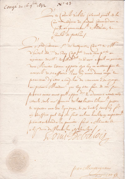 HOLOGRAPH DOCUMENT SIGNED by LOUIS DE VALOIS, Colonel-General of the Cavalry, granting permission for an individual to take leave., Louis de Valois (Louis-Emmanuel d'Angouleme (1596-1653).  Count of Auvergne and governor of Provence. Grandson of King Charles IX.