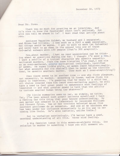 "A 2-PAGE TYPED LETTER SIGNED by MILICENT TRYON Addressed to Freudian psychiatrist and criminologist Dr. Arthur Foxe on the subject of sexually motivated murder., (Foxe, Dr. Arthur N.). Tryon, Milicent. Feminist, arts critic, and secretary to Justice Ruth Bader Ginsburg at Columbia. She was responsible for the word ""gender"" replacing ""sex"" in legal language."
