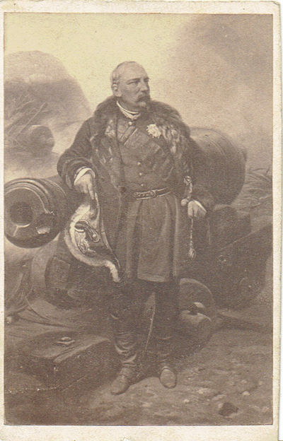 A VINTAGE CARTE-DE-VISITE PORTRAIT, AFTER A PAINTING BY HORACE VERNET, OF THE FRENCH ARMY GENERAL WHO WAS MADE MARSHAL OF FRANCE FOLLOWING HIS SERVICE IN ALGERIA AND THE CRIMEAN WAR, Bosquet, Pierre (1810-1861), Marshal of France. French Army General who served in Algeria and the Crimean War