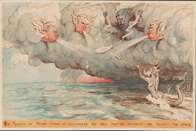 Image for Cartoon of U.S. Navy airship buffeted by the Forces of Nature.