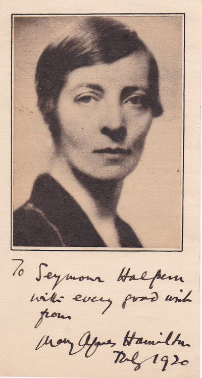 AUTOGRAPH OF BRITISH LABOUR PARTY POLITICIAN MARY AGNES HAMILTON INSCRIBED BELOW A NEWSPAPER PORTRAIT TO FUTURE NEW YORK POLITICIAN SEYMOUR HALPERN., Hamilton, Mary Agnes (1884-1966). Labour Member of Parliament for Blackburn, U.K. (1929-1931).