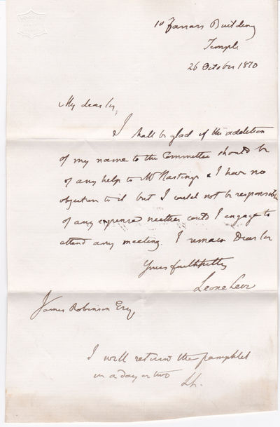 AUTOGRAPH LETTER SIGNED BY BRITISH POLITICAL ECONOMIST LEONE LEVI., Levi, Leone. (1821-1888). British political economist