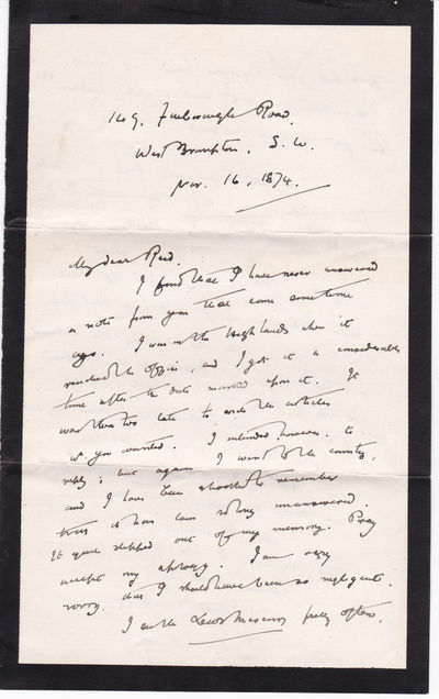"AUTOGRAPH LETTER TO LEEDS MERCURY EDITOR THOMAS WEMYSS REID SIGNED BY SCOTTISH JOURNALIST JAMES MACDONELL., Macdonell, James. (1841-1879). Scottish journalist, author of posthumously published ""France Since the First Empire""."