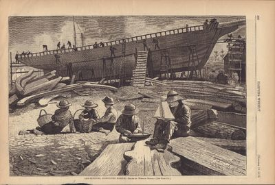 Image for Ship-building, Gloucester Harbor- Drawn by Winslow Homer Harper's Weekly- October 11 1973