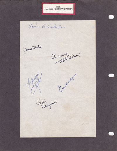 """AUTOGRAPHS OF 5 PLAYERS FROM THE BASKETBALL EXHIBITION TEAM, THE HARLEM GLOBETROTTERS., (Harlem Globetrotters). Lark, Meadow; Burks, Frank; Wilson, Clarence; Wagner, Ernest; and Vaughn, Governor """"Gov""""."""