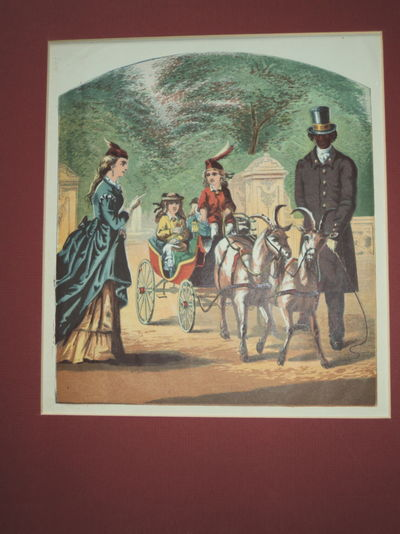 [LITTLE CHARLEY'S VISIT: WHAT HE SAW IN CENTRAL PARK]. A SUPERB CHROMOLITHOGRAPH DEPICTING LITTLE CHARLEY RIDING  IN A GOAT DRAWN CARRIAGE IN NEW YORK CITY'S CENTRAL PARK, (Anonymous)
