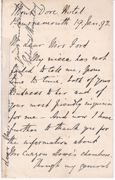 "A FOUR-PAGE AUTOGRAPH LETTER SIGNED by the British General and Literary Figure SIR EDWARD BRUCE HAMLEY to Mrs. Mary Ford, widow of Richard Ford who wrote the popular ""Handbook for Travellers in Spain""., Hamley, Sir Edward Bruce (1824-1893). British general and literary figure."