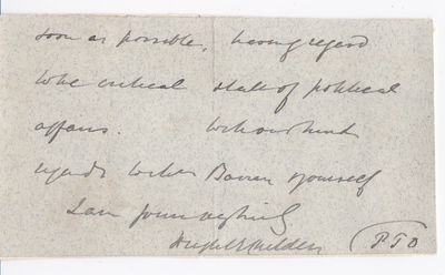 CLOSE OF AN AUTOGRAPH LETTER SIGNED BY BRITISH AND AUSTRALIAN STATESMAN HUGH CHILDERS, CHANCELLOR OF THE EXCHEQUER FROM 1882 TO 1885., Childers, Hugh. (1827-1896). British and Australian statesman. Chancellor of the Exchequer from 1882 to 1885.